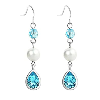 NEVI Long Fashion Swarovski Crystals Pearl Rhodium Plated Danglers Earrings Jewellery for Women And Girls (Blue &amp; White) <span at amazon
