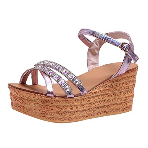 ◕‿◕Watere◕‿◕ Women Summer Slope with Muffin Platform Sandals Buckle Sequined Rhinestone high Heel Platform Sandals Pink -