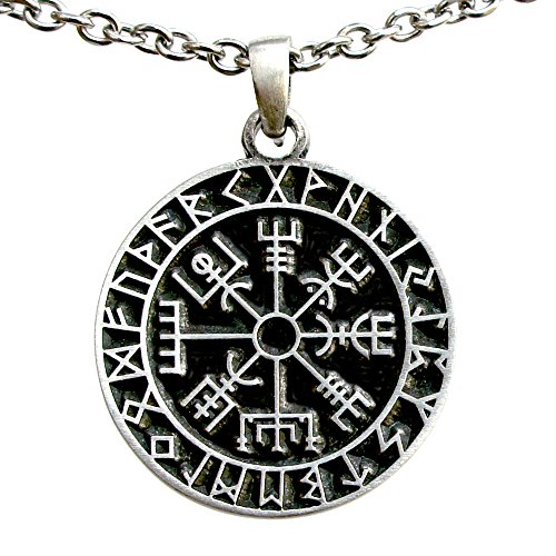 OhDeal4U Vegvísir wayfinder Guidepost Safe Travel Compass Talisman Viking Pewter Pendant (Stainless Steel Necklace)