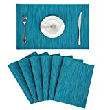 Pauwer Placemats Set of 6 Crossweave Woven Vinyl Placemat for Kitchen Table Heat Resistant Non-Slip Kitchen Table Mats Easy to Clean (6pcs Placemats, Blue) Larger Image