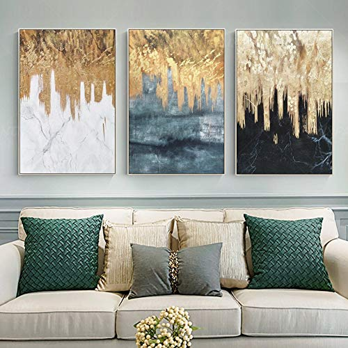 astoriagears 3 Pieces Original Abstract Gold Leaf Waterfall Black and White Acrylic Painting On Canvas Wall Art Home Decor Art Picture Cuadros abstractos 5070cm3pcs Frame - Large Original Abstract Acrylic Painting