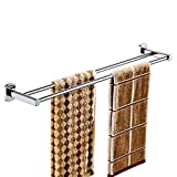 All Copper Towel Bar Towel Rack Bath Towel Holder Hardware Silver Mirror Surface (Design : Double pole, Size : 50cm)
