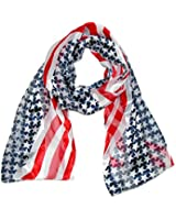 CTM® Womens Satin Long American Flag Scarf