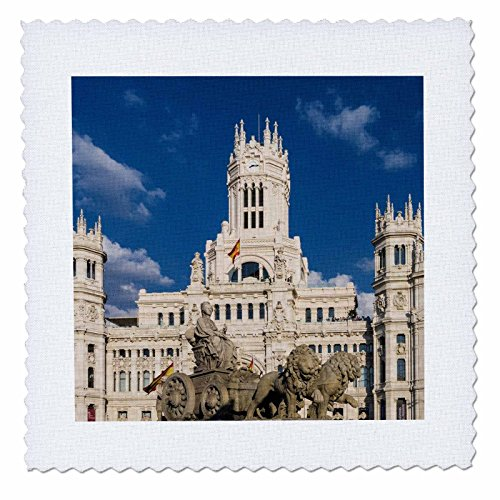 3dRose Cities Of The World - Cybele Palace In Madrid, Spain - 22x22 inch quilt square (qs_268658_9) by 3dRose