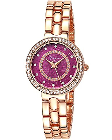INWET Crystal Women's Watch,Purple Dial,Rhinestone Bezel,Rose Gold Case and Bracelet (Purple Gold Watch)
