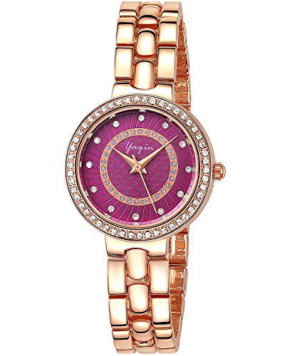 INWET Crystal Women's Watch,Purple Dial,Rhinestone Bezel,Rose Gold Case and Bracelet