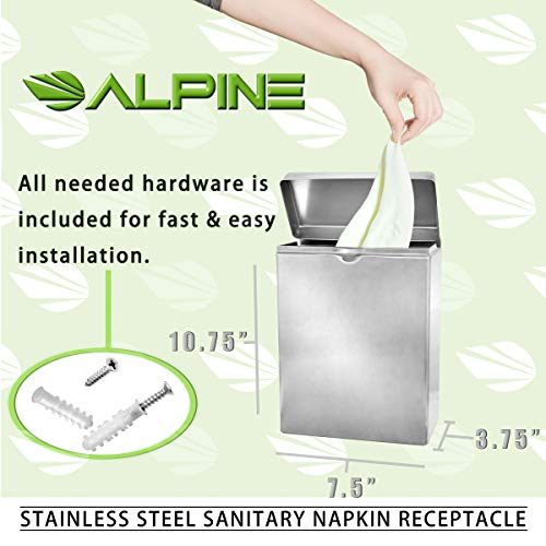 Alpine Industries Sanitary Napkin Receptacle – Easy Install, Wall Mounted Container – Provides Clean & Odor-Free Restroom for Home & Public Restrooms by Alpine Industries (Image #4)