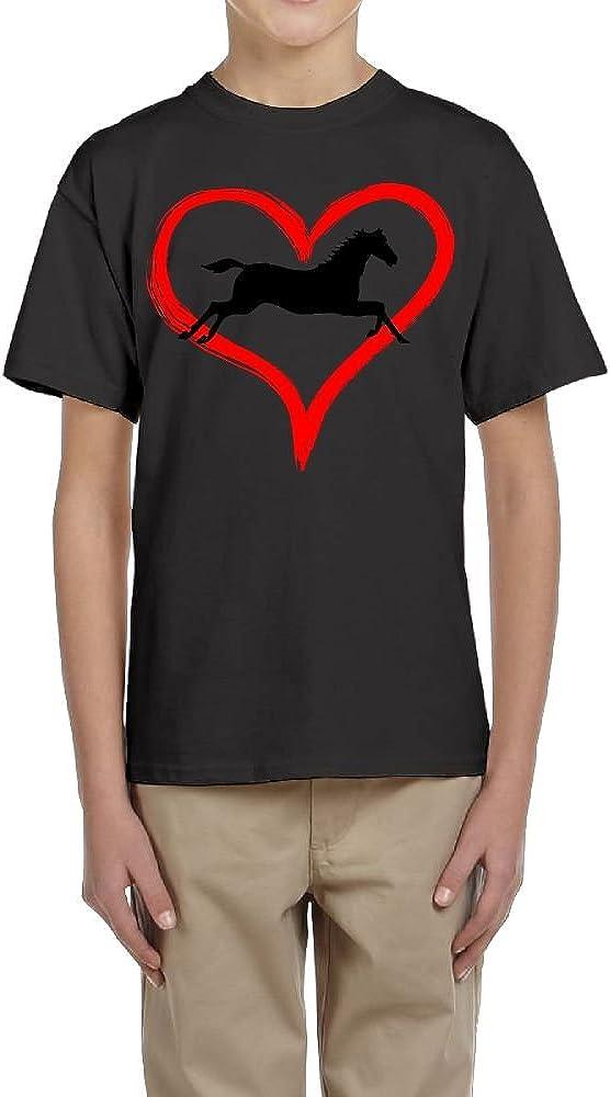 Fzjy Wnx Short-Sleeved Shirts Youth Crewneck Horse Heart for Boys