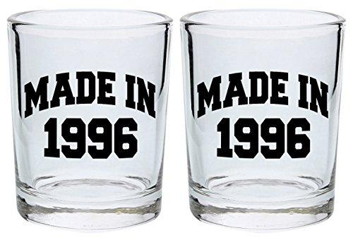 21st Birthday Shot Glass Made 1996 Gift Shot Glasses 2-Pack Round Shot Glass Set (Cheap Shot Glasses Personalized)