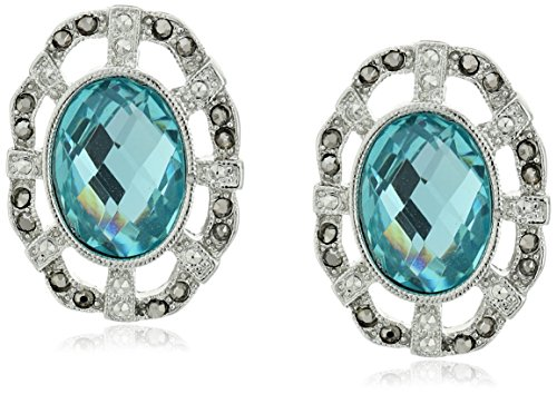 1928 Jewelry Silver-Tone Aqua Blue and Hematite Color Oval Button Stud - Ring Oval Hematite