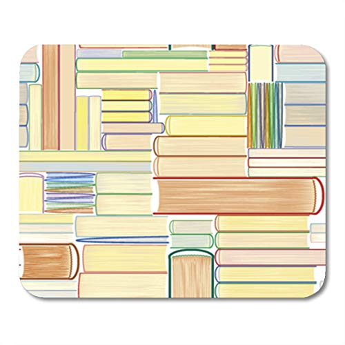 Semtomn Gaming Mouse Pad Pattern Books Library Bookworm Leaflet Bookcase Reading Swatch Lover 9.5