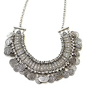 Shining Diva Fashion Jewellery Bohemia Gypsy Tibetan Vintage Coin Necklace for Girls & Women(Silver)(8547np)
