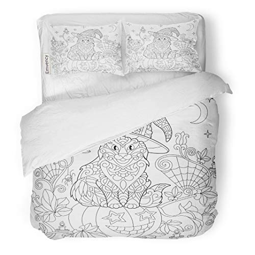 Tarolo Bedding Duvet Cover Set Halloween Coloring Page Cat in Hat Pumpkin Spider Lanterns Candles Moon and Stars Freehand Sketch Drawing 3 Piece Queen 90