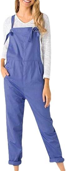 Fly Year-JP 女性ビブバギーワイドレッグプレイスーツポケット調節可能なストラップルーズロンパース