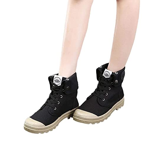 4a214df0bc5 Image Unavailable. Image not available for. Color  Gyoume Women Canvas Boots  High-top Military Ankle Boots Shoes Lace Up Boots Flat Wedge