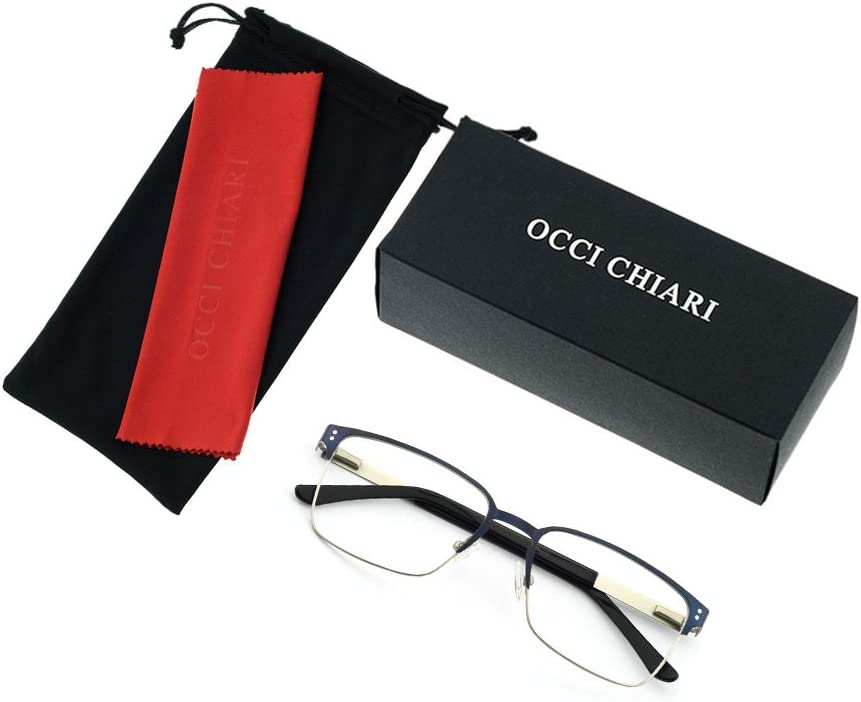 OCCI CHIARI Mens Rectangle Eyewear Full-Rim Metal Non-Prescription Clear Optical Glasses A3008 Brown