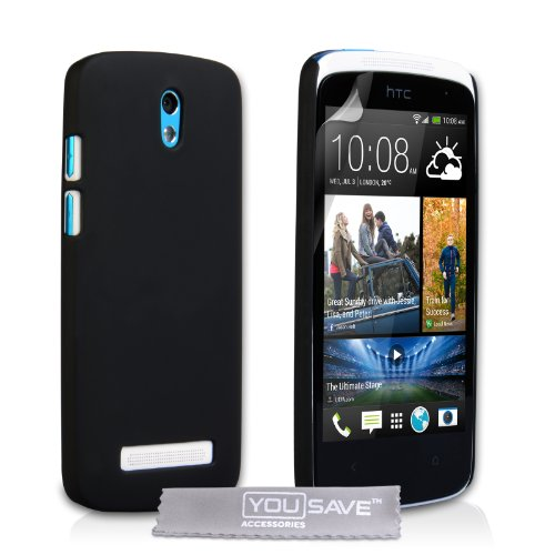 HTC Desire 500 Case Black Hard Hybrid Cover (Htc 500 Desire Rubber Case)