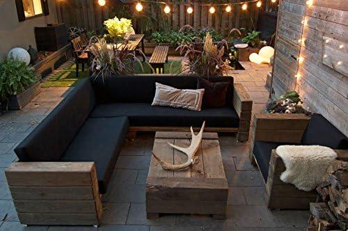 Jardín Muebles de Madera Maciza de Roble con el Acolchado - versión Pesada - sofá + Silla + Mesa - Madera Maciza rústico - Salón Conjunto: Amazon.es: Hogar