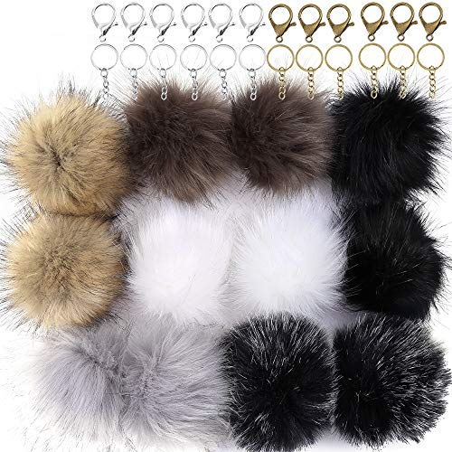 Auihiay 12 Pieces Faux Fox Fur Fluffy Pompom Ball Include Lobster Claspand Split Key Ring with Chain for DIY Keychains Hats Shoes Scarves Bag Charms (Dark Mix Colors) - And Hat Ball Chain