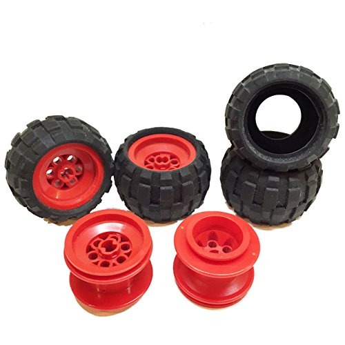 Lego Parts: Drome Racer Wheels Tire and Rim Bundle (4) Black 43.2mm x 28mm Balloon Tires (4) Red 43.2mm x 28mm Wheel (Crusher Lego Racer)