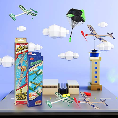 Balsa Wood Airplane Glider and Parachute Man Rubber Band Powered Sky Streak and Captain Storm Twin Packs 5 Piece Set by Guillow (Image #3)