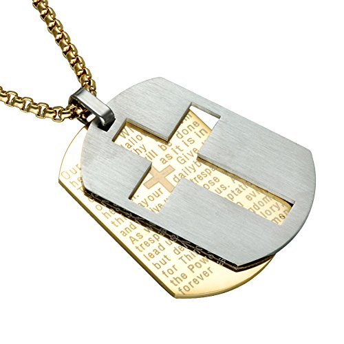 - UNAPHYO Men's Stainless Steel Lord's Prayer and Cross Dog Tag Pendant Necklace, Double Design Gold Silver with 24 Inches Chain