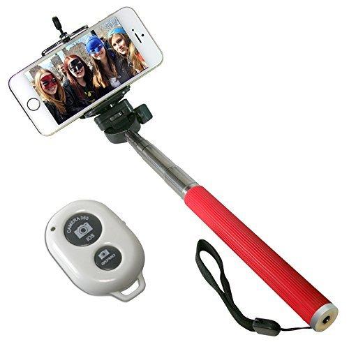 B-Kool Selfie Stick, Quicksnap Pro 3-in-1 Self-portrait Monopod Extendable Wireless Bluetooth Selfie Stick (Bluetooth Red)