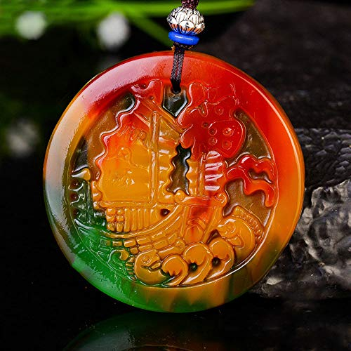 WOkismx Natural Color Jade Necklace Chicken Blood Jade Floating Flower Blessing Character Pendant Smooth Sailing Agate Lucky Clavicle Chain Jewelry Goddess Gift
