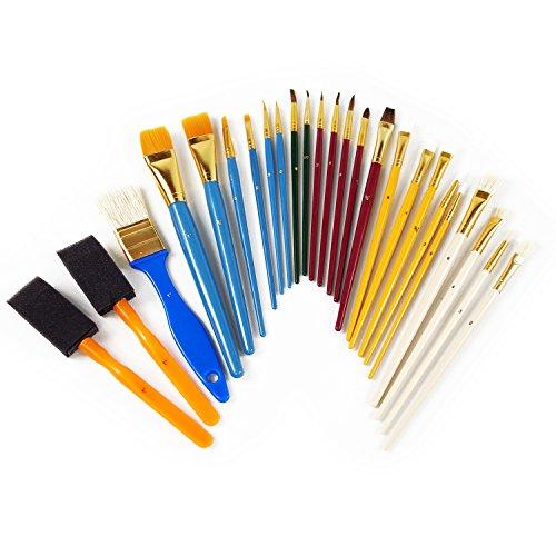 Artina® 25er Pinsel-Set - diverse Pinselarten mit Malschwämme - ideal für alle Bereiche der Kunst und Malerei
