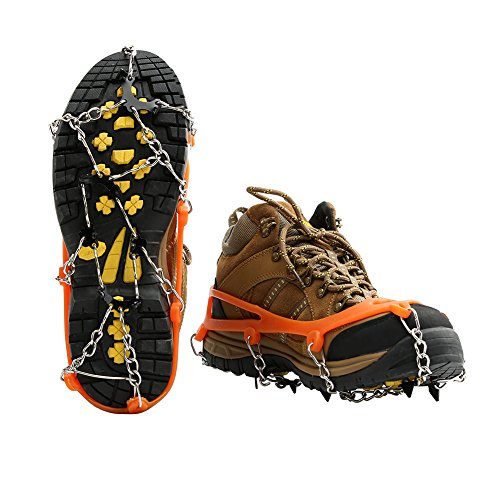 Cosyzone Traction Cleats Micro Ice Spikes for Shoe/Boots Safe for Walking, Jogging, Climbing and Hiking-Orange (M)