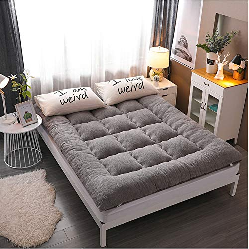 ZDiane Traditional Japanese Floor Futon Mattresses, Queen Size, Portable Camping Wool Wrap Mattress, Foldable Cushion Mats, Yoga Meditaion, Color: Camel,Gray,Full