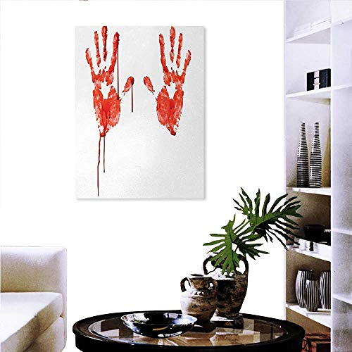 Horror canvas print wall art painting for home decor Handprint like Wanting Help Halloween Horror Scary Spooky Flowing Blood Themed Print wall decorations for living room sticker 24