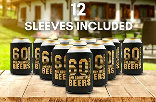 60th Birthday Decorations for Men - 12-Pack Party Can Coolers - 60th Birthday Gifts for Women - 60th Birthday Gift Ideas Beer Sleeve, 12 Insulated ...