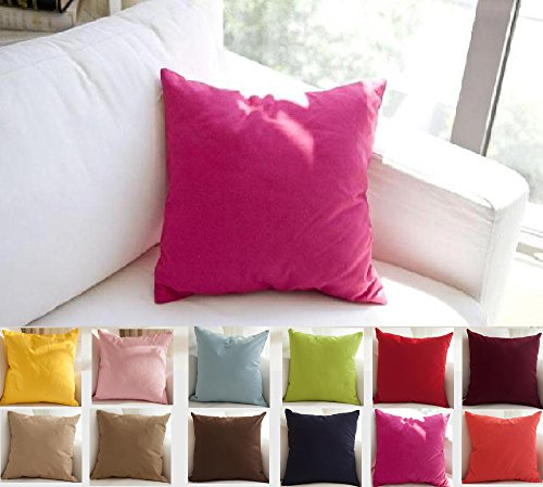 TangDepot Cotton Solid Throw Pillow Covers, 18