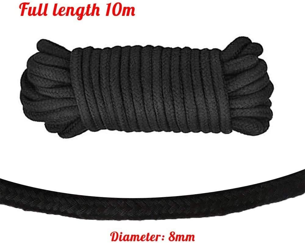 Soft Rope Cord,2Pack Soft Cotton Rope 10 M//33 Feet 8 MM All Purpose Cotton Rope Craft Rope Thick Cotton Twisted Cord Black