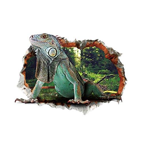 Lizard Animals (3D Art Wall Stickers Murals - - Self-adhesive Removable DIY Vinyl Decals Decorator for Kids Bedroom Ceiling, Living Room, Nursery, Sofa Backdrop, TV Wall Background, Classroom (Lizard))