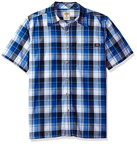 0a7f29301a37 Dickies Men s Relaxed Fit Short Sleeve Square Bottom Plaid Shirt at Amazon Men s  Clothing store