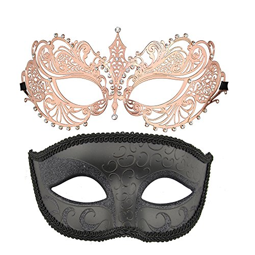 One Pair Couple's Venetian Masquerade Masks,Crown Mask Costumes Mardi Gras Prom Mask (Rose (Venetian Carnival Mardi Gras Mask)