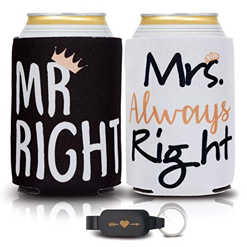 Wedding Gifts for the Couple Unique - 2 Pack Couples Gifts Can Coolers and Heart Bottle Opener - Engagement Gifts for Couples, Anniversary Gifts for Couple, 2 Gift Beer Can Sleeves for Men and for Her