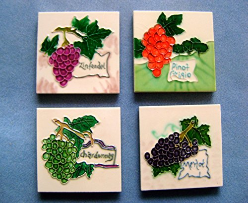Tile Craft set of four wine ceramic art tile coasters 4 x 4 inches ()
