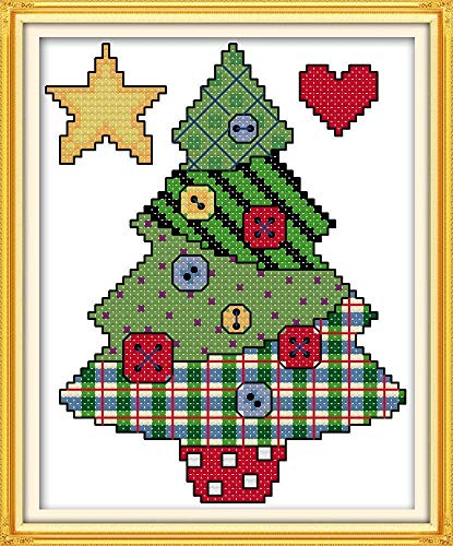 Cross Stitch Stamped Kits Quilt Pre-Printed Patterns Cross-Stitching for Beginner Kids Adults 11CT Embroidery Crafts Needlepoint Starter Kits, Button Christmas Tree