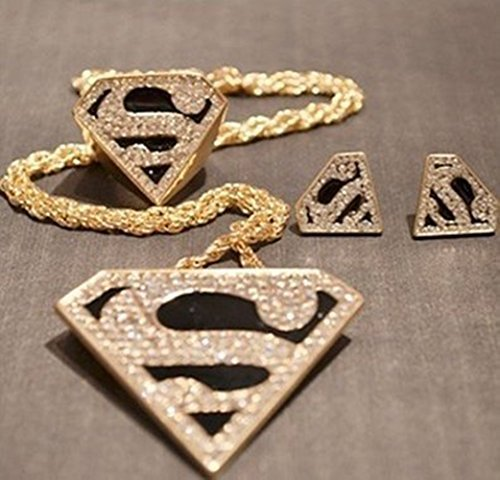 Lvxuan 2014 Fashion Enamel Crystal Gold Geometry Superman Necklace Earring Ring Jewelry]()