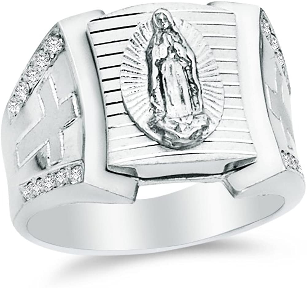 Mens 925 Sterling Silver CZ Cubic Zirconia Religious Our Lady of Guadalupe Virgin Mary Ring