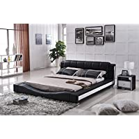 US Pride Furniture B8067-CK Bonded Leather Contemporary Platform Bed, California King, Black/White