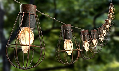 Metal Cage Outdoor String Lights - 7