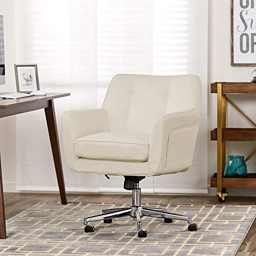 Serta Style Ashland Home Office Chair, Bonded Leather, Cream