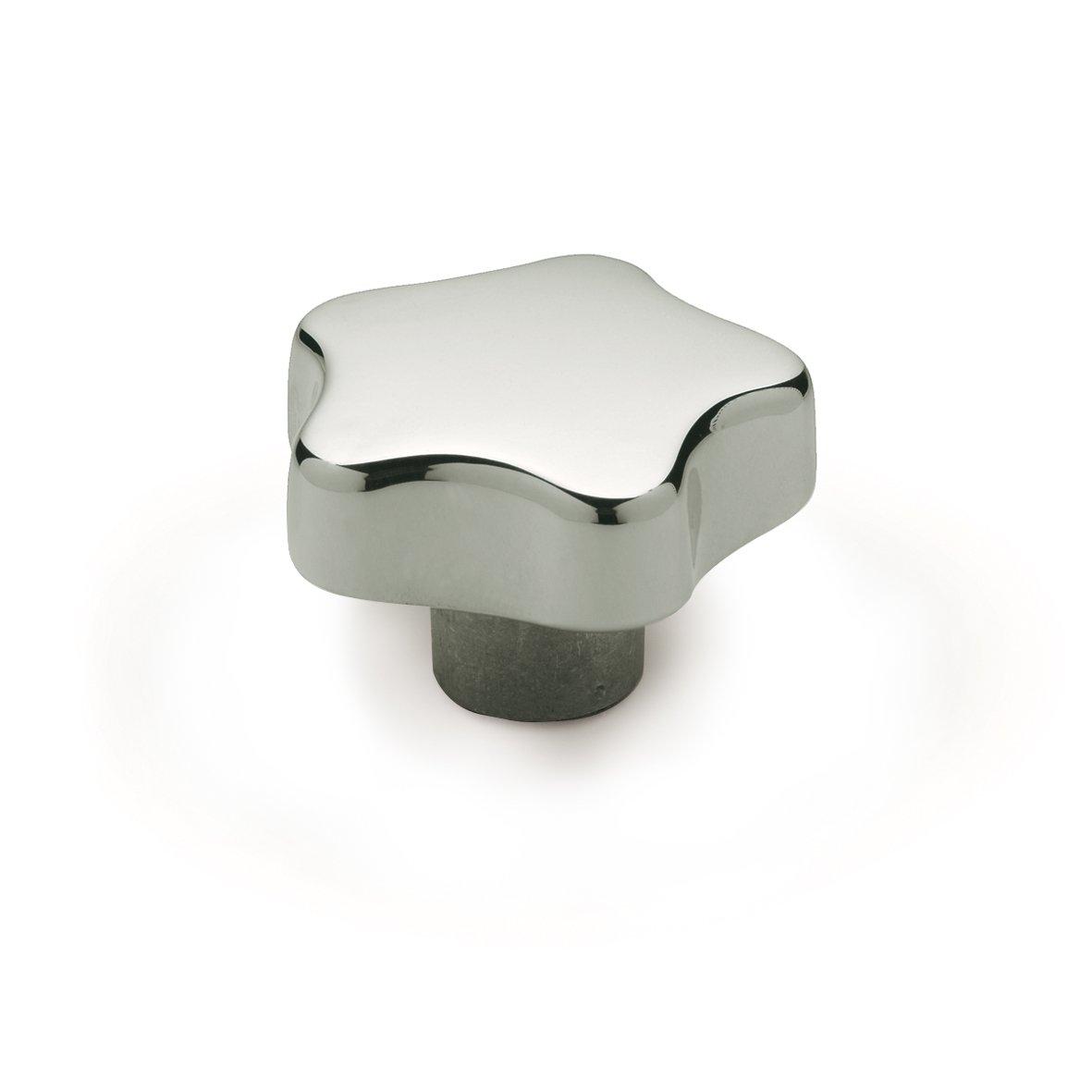 JW Winco Aluminum 6082 Tapped Hand Knob, Threaded Hole, M12 x 1.75 Thread Size x 22mm Thread Depth, 60mm Head Diameter, Polished Finish (Pack of 1)