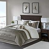 Madison Park Amherst 7 Piece Comforter Set Color: Natural, Size: King, Khaki