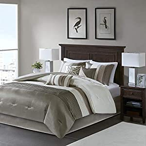Madison Park Amherst Faux Silk Comforter Set-Casual Contemporary Design All Season Down Alternative Bedding, Matching…