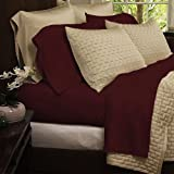 Bedding sets-4-Piece Bed Sheets Set-Hotel Comfort 1800 Series Eco-Friendly Organic Bamboo Bed Sheets-Size Queen-Color Burgundy-bamboo fiber sheets are comfortable and ultra-soft & silky which ensures your body and mind get a peaceful sleep all night long-